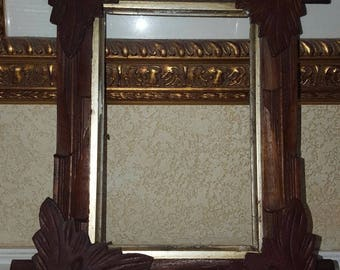 Antique Victorian Picture Frame w Leaf Corners Rustic Decor