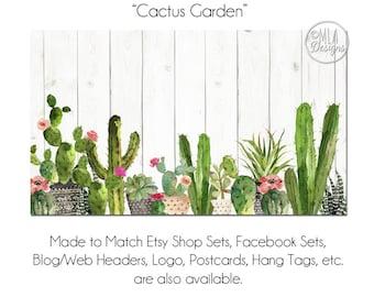 Cactus Garden Business Card, DIY Blank Business Card Template - Cactus Garden - Cactus Business, Succulent Card, Hang Tag, Cacti Card