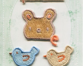 Bear & Bird Patch - Embroidered Iron On Patch, Japanese Kawaii Iron on Applique, Natural, Animal Patch, Embroidery Applique, 4PCS, W350