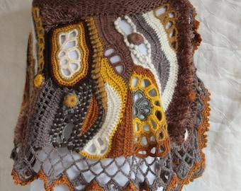 Chunky Crochet Poncho, Freeform Crochet Poncho, Crochet Capelet, Bohemian Poncho, Cape Shawl, Beaded -  Brown, Ivory, Orange - Wearable Art