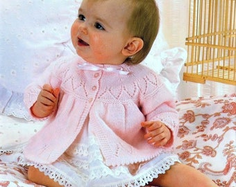 Baby 4ply Matinee Jacket and Bonnet Knitting Pattern  for Sizes 17 to 19 inches - PDF  Instant Download