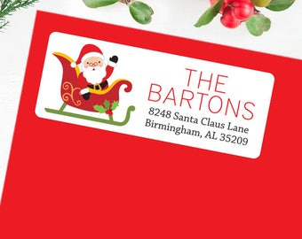 Christmas Address Labels - Santa In His Sleigh - Sheet of 30