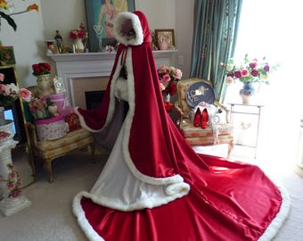 Princess Bridal Cape Pageant-Train 52/96 inch Claret (Dark Red) / Ivory Satin Wedding Cloak Hooded with Fur Trim Handmade in USA