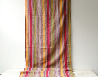 Vintage Guatemalan Runner Textile, Striped Fabric, Vintage Tablecloth, Table Runner