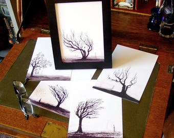 5 Spooky Tree Ghost and Crows prints set - Counting Crows - fine art print on archival paper