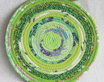 Coiled Rope Mat / Fabric Coiled Mat / Mug Rug / Trivet / Hot Pad / Round Coiled Mat / Eco Lime Green by PrairieThreads