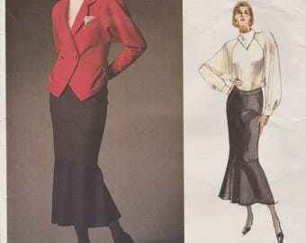 Vogue Paris Original 1949 / Vintage Designer Sewing Pattern By Karl Lagerfeld / Blouse Skirt Jacket Suit / Size 14 Bust 36
