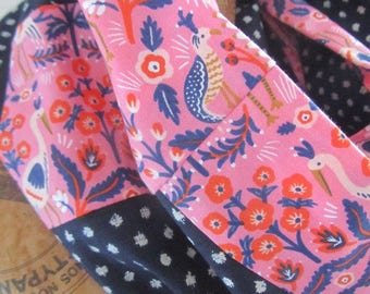 """New snood summer 2017-cotton snood and indigo linen with dots and """"pink and blue Peacock"""" - Japanese fabric"""
