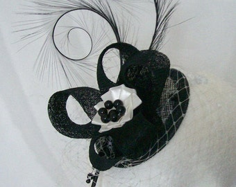 Black and Ivory Blusher Veil Pheasant Curl Feather Sinamay & Pearl Crystal Isadora Wedding Fascinator Mini Hat - Custom Made to Order