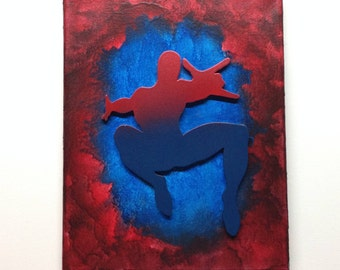 Spiderman Inspired Melted Crayon Art Painting