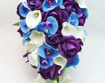 Cascade Bridal Bouquet Blue Orchids Purple Real Touch Roses White Real Touch Calla Lilies - Customize for your Colors