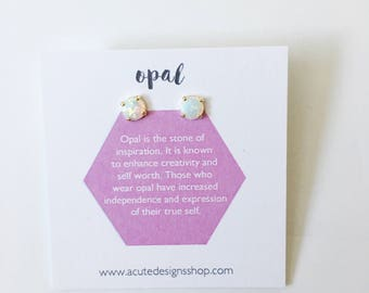 Opal - Healing Gemstone Studs, earrings, posts, birthstone, october, oval round, minimal, small, gold, silver, gift under 35,