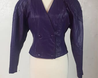 Vintage 1980s Chia Purple Leather Jacket Size Medium