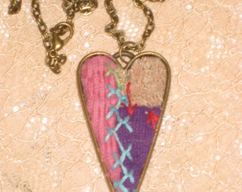 Quilt Heart Necklace Pink Purple Pendant Gift For Her Repurposed Quilt Jewelry Feather Stitched Quilt OOAK Necklace With Gift Box