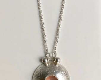 Peach Moonstone Sterling Silver Handmade Necklace