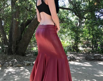NEW: The Red Queen Faux (Vegan) Leather Mermaid Skirt by Opal Moon Designs (Sizes S-XL)