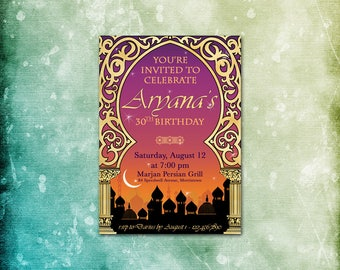 Arabian Nights Invitation, Poster & Save the Date / Theme Party / Moroccan Casbah Kismet / Corporate Fundraiser Birthday Prom Shower