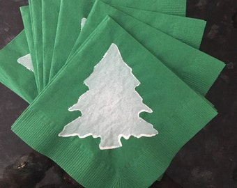 Green and White Christmas Tree Paper Cocktail/Luncheon/Dinner Napkins