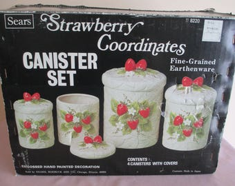 SEARS STRAWBERRY Coordinates CANISTER Set of 4, Vintage 1981, New In Box