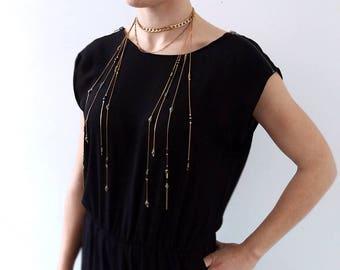 Chain Choker, Choker Lariat Statement Necklace, Beaded Lariat Necklace, Layering Chain Necklace