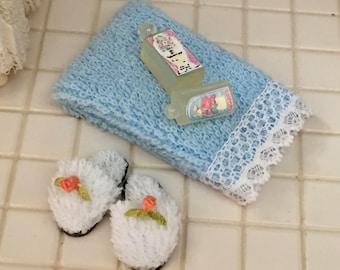 Miniature Bath Set, Slippers, Blue Towel and Lotion Bottles, Dollhouse Miniatures, 1:12 Scale, Dollhouse Bath Accessories, Decor, Crafts