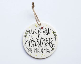 First Christmas as Mr. & Mrs. Ornament | Personalized Ornament | Newlywed Gift