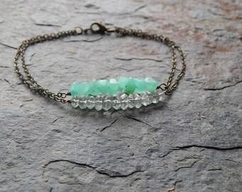 Dainty gemstone bar bracelet - Aqua stone stacking bracelet - quartz crystal bracelet - multistrand - layering jewelry - modern - minimalist