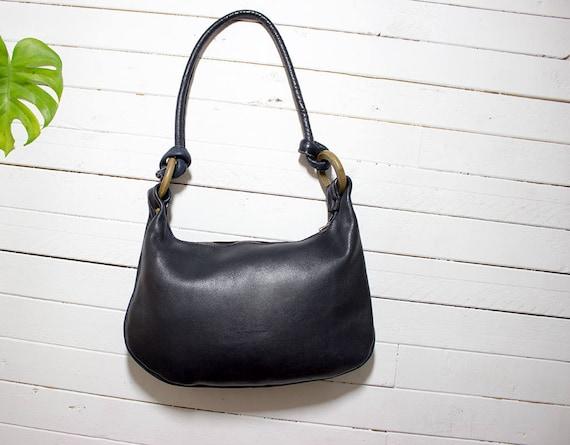 Vintage 70s Leather Bag / Navy Hobo Bag / Navy Leather Bag / Leather Shoulder Purse / Boho Purse