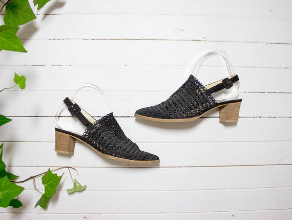 Vintage Slingback Mules 8 / Black Mesh Mules / Slingback Heels / Minimal Shoes / Black Leather Mules
