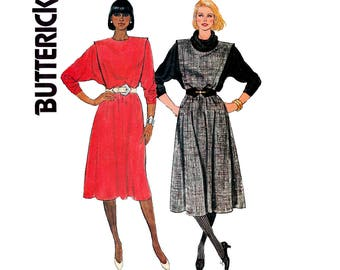 80s Batwing Dress Butterick 6746 Vintage Sewing Pattern Size 8 Bust 31 1/2 inches