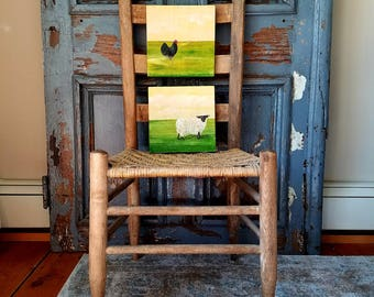 Farm House Art of black rooster and white sheep, original acrylic painting on re-purposed wood