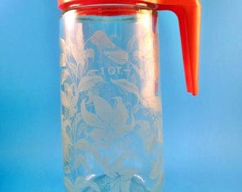 Retro Tang Juice Pitcher Quart Plus Size Glass Plastic Lid with Cap Anchor Hocking Covered Pour Spout