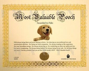 Personalized Dog Gift,Personalized Dog Gift For Owners,Dog Gift,Dog Award,Personalized Certificate,Pet lover Gift,Custom Dog Gift