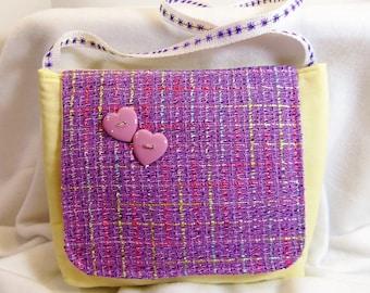 Shoulder Bag Childs Sling Bag Pale Yellow with Purple Tweed Flap (2) STMT1-07