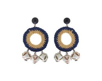 Large Hoop Earrings Hippie Earrings Natural and Blue Handmade Knitted Hoop and Ethnic Bead Statement Earrings Original Art Jewelry