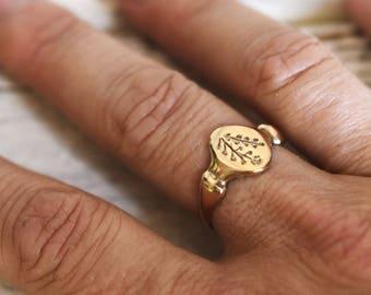 14K Gold Ring, Shepherd's Purse Botanical Ring, Botanical Jewelry, Ring, Stacking Ring, Flower Ring, Promise Ring, Gold + Bronze Peg and Awl
