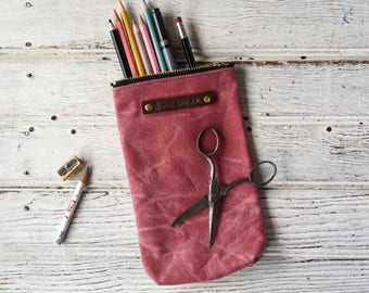 Waxed Canvas Zipper Pouch, Scribbler in Radish, Waxed Canvas Bag, Pencil Case, Cosmetics Pouch, Makeup Bag, Birthday Gift, Valentines Day