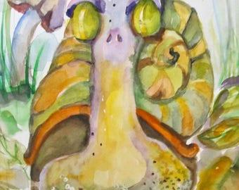 Green Garden Snail original 11x8 watercolor painting Art by Delilah