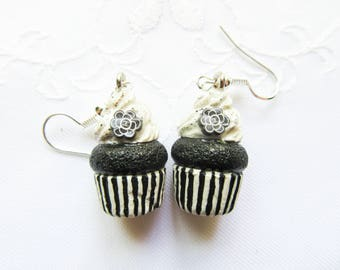 Cupcake Earrings / Black & White / Food Earrings / Cute Earrings / Cupcake / Polymer Clay / Earrings