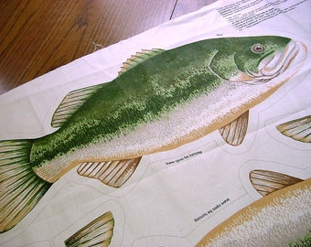 Vintage Fabric Panel Fish to Sew n' Stuff - Rainbow Trout & Large Mouth Bass Pillows, Appliques, Trophy Mount, Stringer, Shelf Sitter Cotton