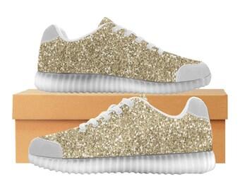 Gold Glitter LED Light Up Shoes | Kids & Womens Sizes | High Stretch Upper | EVA + Mesh Fabric Insole | 7 Colors | Bold Street Artist Design