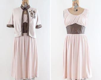 1950s Pink Dress - 50s Dress Small - 50s Day Dress Medium -Dress Set - Rockabilly Mad Men MidCentury Blush Pink Pinup Sleeveless Spring