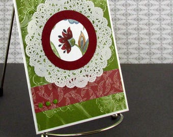 Get Well Soon Handmade Quick and Complete Recovery Handcrafted Doily Card Burgundy Olive Green Floral