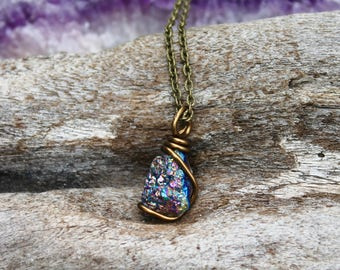 Crystal Quartz Necklace - Boho Jewelry - Raw Stone Jewelry - Titanium Rainbow Druzy Necklace - Bohemian Necklace - Rainbow Hippie Jewelry
