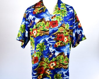 Kennington Ltd. of California Hawaiian Themed Button Up Shirt, Perfect Condition, Size Extra Large