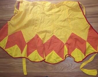 Vintage Handmade half Apron Yellow Orange Cotton Blend