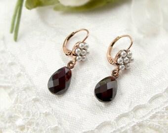 Vintage garnet briolet earrings with seed pearls Victorian style // #PK
