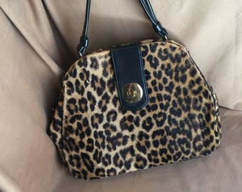Vintage 60's Leopard Print Handbag, Leopard Print Purse, LARGE Top Handle Kelly Bag, Black, Brown, Rockabilly 50's Style, Vegan Friendly