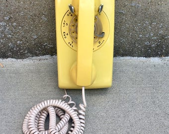Vintage Yellow Rotary Wall Phone - Western Electric