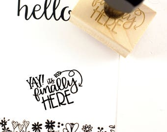 Shop Exclusive - YAY! It's finally here with arrow detail rubber stamp - modern calligraphy hand lettered stamp - small business stamp